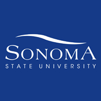 Sonoma State University swoosh logo in blue and white
