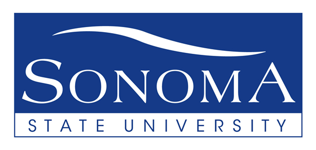 Sonoma State University swish logo banner in blue and white